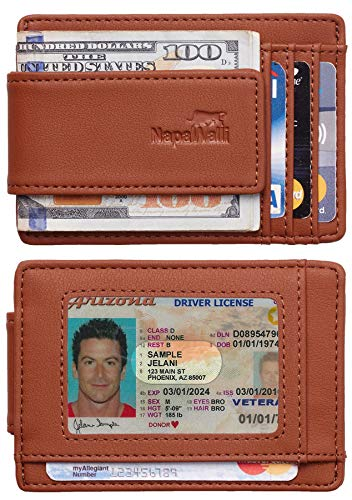 Toughergun Genuine Leather Magnetic Front Pocket Money Clip Wallet RFID Blocking(ReNappa Brown)