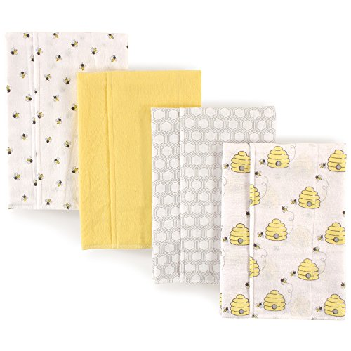 Hudson Baby Unisex Baby Layered Flannel Burp Cloth, Bees 4 Pack, One Size