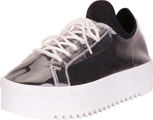 ef15ce249f4d3 Cambridge Select Women's Retro 90s Rave Clear Chunky Flatform Fashion  Sneaker
