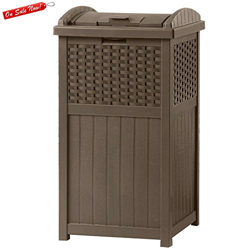 Garbage Bucket Plastic Outdoor Brown Modern Design Organization - 30 Gallon Trash Can Decorative