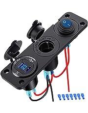 GemCoo Double Séparateur de Prise Allume Cigare QC3.0, Double USB Chargeur de Voiture Prise Panneau Interrupteur 250W 12V d'alimentation pour Bateau de Voiture Marine