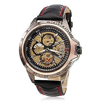 Relojes Hermosos, Hombre Reloj de Pulsera Cuerda Automática Huecograbado PU Banda Negro Marca- WINNER (Color : Negro) : Amazon.es: Deportes y aire libre