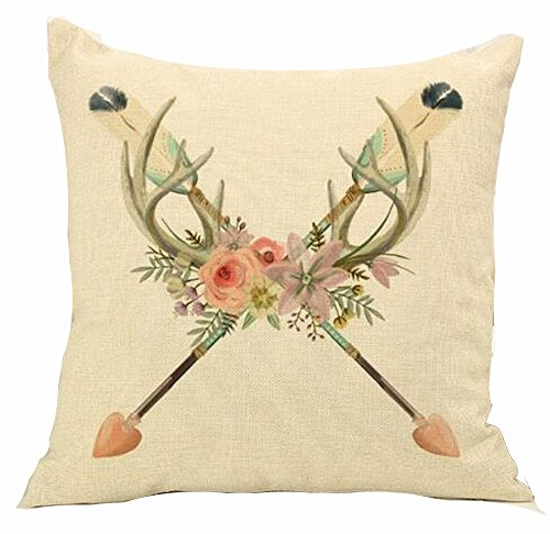"Price comparison product image Cotton Linen Square Decorative Throw Pillow Case Cushion Cover Men's Stylish Hunting European Indian Style Bow Arrow Flowers Antlers Retro Stag 18 ""X18 """