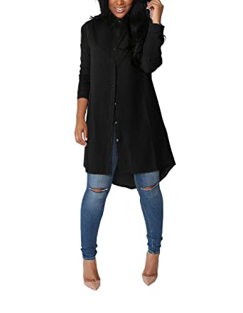 df4ca2493d0 Yidarton Womens long sleeve shirt blouse Chiffon with V neck Black Small