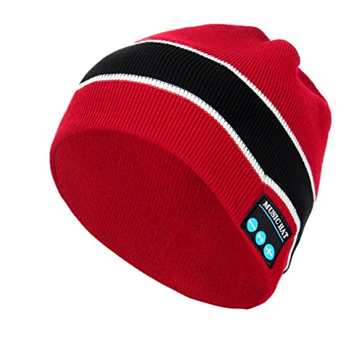 Audio Snowboard Hard Hat (Rasse Bluetooth Headphone Hat V3.0+EDR Beanie Hat Wireless Knit Warm Cap Hands Free with Built in Wireless Speaker for Outdoor Sports Skiing Walking Running Skating)