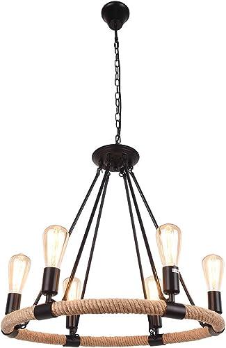 OYI Hemp Rope Style Pendant Light, 6 Lights Retro Industrial Chandelier Metal Island Light Chain Ceiling Lamp E26 Socket