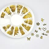 NYKKOLA 12*10pcs Nail Art Gold Metal Slice Stickers Design Decoration Wheel for Nail Art