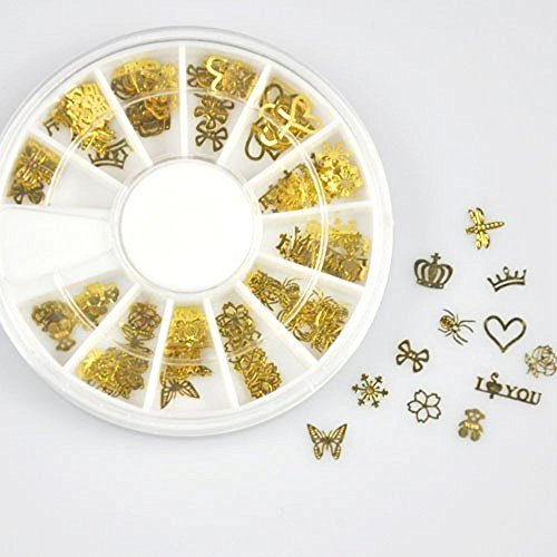 (ILJILU 12 * 10pcs Nail Art Gold Metal Slice Stickers Design Decoration Wheel for Nail Art )