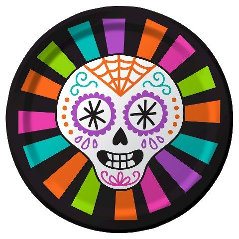 Spritz Halloween Day of the Dead Snack Plate - 8ct