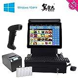 ZHONGJI Pago Kit de caja registradora (AP-B6000D), punto de venta, con efectivo cajón y impresora térmica de - Windows 10 Pro - Un escáner de mano - English Software (SET02) …