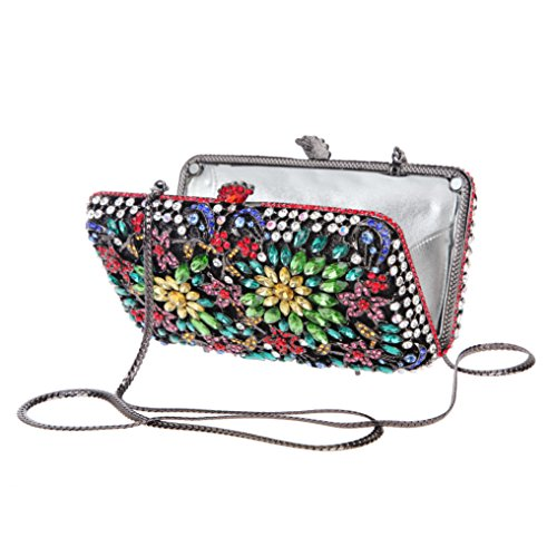 Flower Clutch Crystal Women for Purse Match Bonjanvye Multicolor Evening Rhinestone Dressing dEqFTxZt