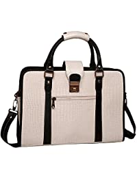 "ZipperNext Croc Design Premium Genuine Leather Messenger Bag for 15.6"" Laptop Briefcase Bag for Women, White"