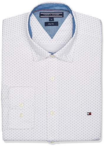 Tommy Hilfiger MW0MW05950 Camiseta para Hombre, Bright White/Four, Mediano