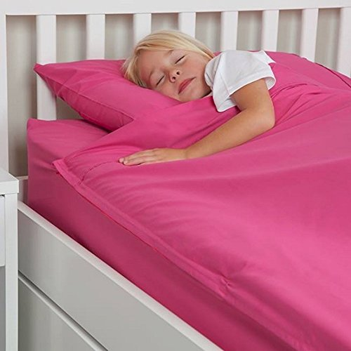 Fuchsia Pink 100% Cotton Kids Zip Up Bed Sheets to Fit a Twin Size Bed