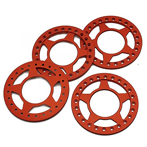 Ring 2.2 Beadlock (RCLIONS 4pcs Matte Red Aluminum Replacement Wheel Rim Beadlock Ring for 1:10 Crawler RC Car 2.2