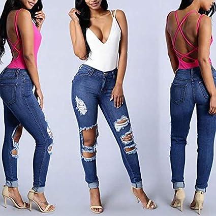 Amazon.com: DHmart Hip hop high Waist Jeans Women Denim Slim ...
