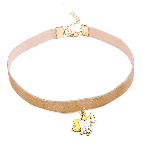 4aa26b4d0c2b Scrox 1pcs Colgantes Mujer Plata Moda Choker Collares Unicornio Niña Joyas  para Mujer Ribbon Collar Corto