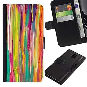 LASTONE PHONE CASE / Lujo Billetera de Cuero Caso del tirón Titular de la tarjeta Flip Carcasa Funda para Samsung Galaxy Note 3 III N9000 N9002 N9005 / Stripes Vertical Lines Crayon