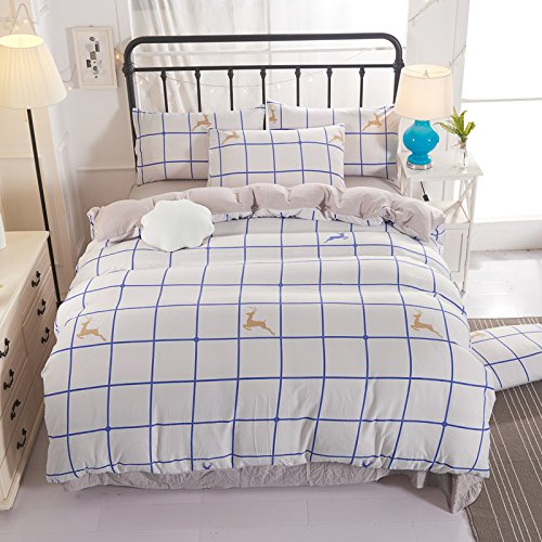 """KFZ Kids 4pcs Cotton Bedding Autumn Winter Duvet Cover Without Comforter Flat Bedsheet Pillowcases CQ Twin Full Queen Sweet Family Colorful Leather Designs (Happy Elk, White, Full,71""""x 86"""")"""