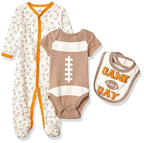 Quiltex Boys' Toddler Game Day Long-Sleeve Coverall Creeper/Bib 3 Piece Set, 6-9 Months