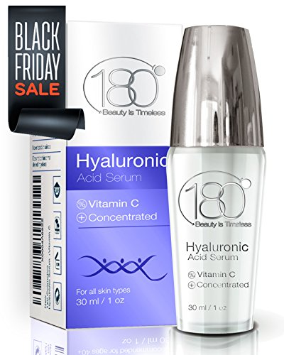 DAYS OF DEALS - 180 Cosmetics Hyaluronic Acid Serum & Vitamin C - Get Rid Of Wrinkles From Day 1 and Enjoy Younger Looking Skin, Effective Concentrated Facial Serum With Hyaluronic Acid. 1oz