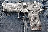 Men Silver Metal Hip Hop Fashion Belt Buckle Gangs Handgun Pistol Gun Iced Out