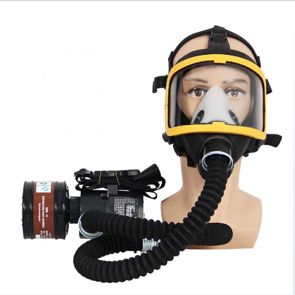 ZYC Máscara de Gas de Cara Completa Protección bioquímica de ventilación con Suministro de Aire eléctrico de Flujo Constante Se Utiliza en Gas orgánico, Pintura en Aerosol Carpintería
