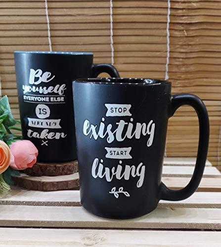 Satyam Kraft 1 pcs Black Color Random Motivational Quot Printed Ceramic Mug for Coffee Tea Beverage Tea Cups/Coffee Mugs for Home Valentine Gift Price & Reviews