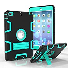 iPad Mini 3 Case, iPad Mini 2 Case, iPad Mini Case, Asstar 3 in 1 Hybrid Heavy Duty Shockproof Impact Resistant Armor Kickstand Defender Protection Case for iPad Mini 3/2 (Black teal)