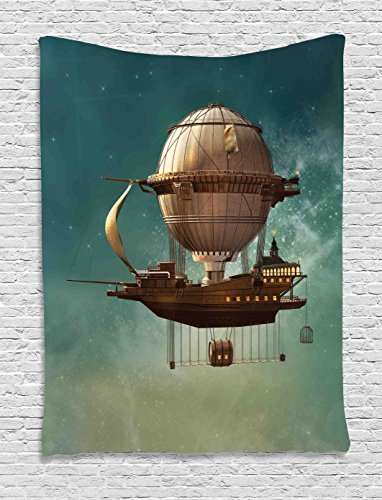 Ambesonne Fantasy Decor Tapestry, Surreal Sky Scenery Steampunk Airship Fairy Sci Fi Stardust Space Image, Wall Hanging Bedroom Living Room Dorm, 40 W x 60 L inches, Teal Brown