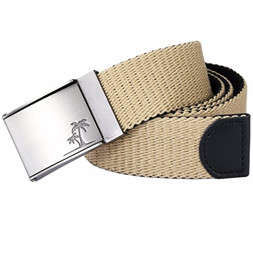 Samtree Men Women's Military Style Canvas Web Belt Removable Flip Top Buckle (Khaki)