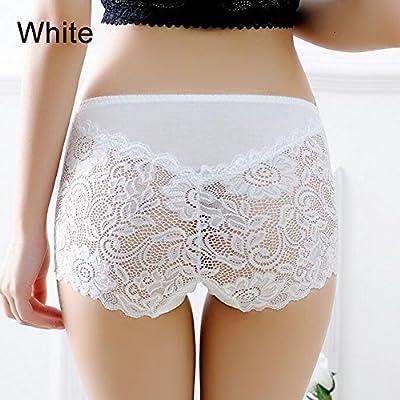 Amazon.com  TRENTON Women s Underwear Sexy Lace Briefs See-Through Boxer  Shorts High Waist Panties White  Garden   Outdoor 1842ae0f5