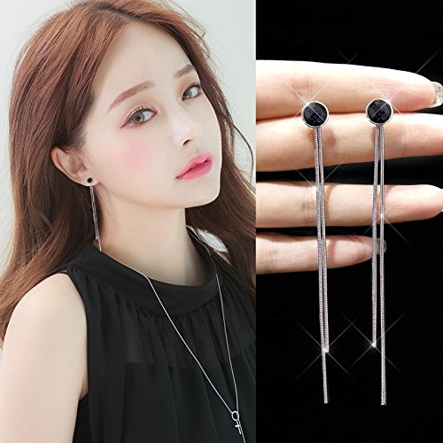 s925 Silver Stud Earrings earings Dangler Eardrop Black Onyx Korea Creative Personality Long Women Girls Necklace Pendant Tassel Ear Wire