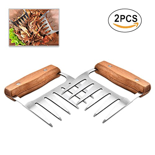 Polar Pendant Light (Pulled Pork Shredder Metal Meat Claws, Stainless Steel BBQ Meat Handling Bear Claws Meat Handler Forks Meat Shredders with Wooden Handle for Shredding, Pulling, Handing, Lifting, Serving Meat (2 Pcs))