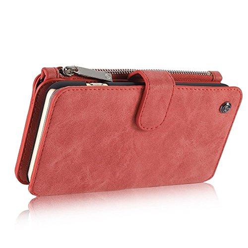 caseme multifonctions téléphone portable Sac Rétro Portefeuille Porte Cartes Etui Coque en Cuir pour iPhone 66S Plus–Rouge