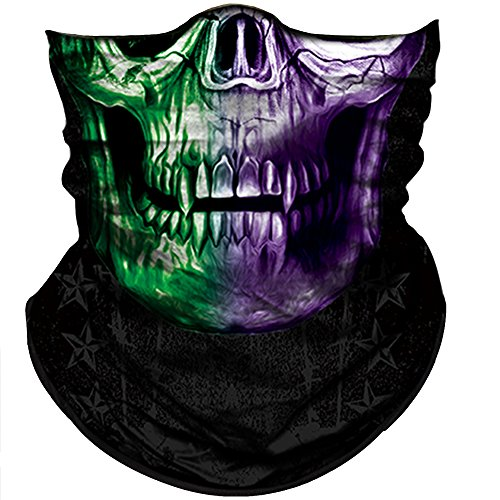 Obacle Skull Mask for Men Women Skull Bandana Skull Half Face Mask 3D Tube Balaclava Breathable Sun Mask for Fishing Running Hunting Cycling Motorcycle Bike Hiking Climbing Festival Outdoor Sports