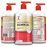 Wild Alaskan Salmon Oil for Dogs, Cats, Ferrets - 16 and 32 oz Pure Unscented Omega 3 Fatty Acid Liquid Fish Oil Supplement Rich in EPA DHA for Pets - Helps Joints, Dry Skin, Coat - Just Pump on Food