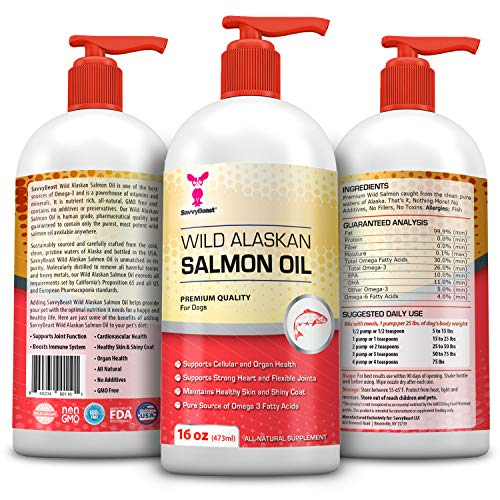 (Wild Alaskan Salmon Oil for Dogs, Cats, Ferrets - 16 and 32 oz Pure Unscented Omega 3 Fatty Acid Liquid Fish Oil Supplement Rich in EPA DHA for Pets - Helps Joints, Dry Skin, Coat - Just Pump on Food)