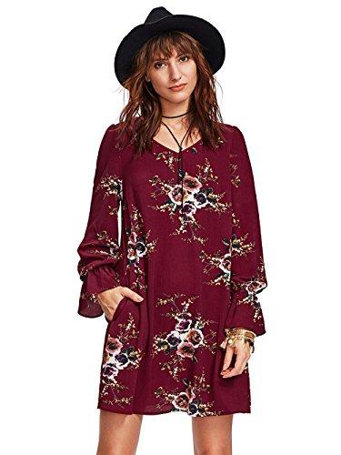 (Milumia Women Floral Print Knot Cuff Round Neck 3/4 Sleeve Botanical Tunic Dress (Large, Burgundy))