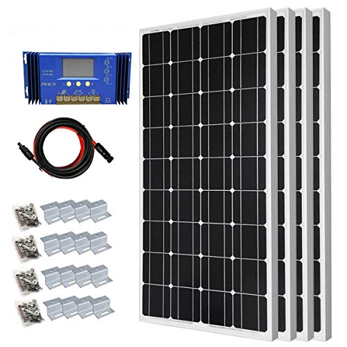 Tied Grid Solar System Power (400 Watt Monocrystalline Solar Panel Starter Kit with 30A PWM Solar Charge Controller Off Grid System)
