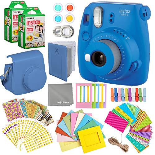 Fujifilm Instax Mini 9 Cobalt Blue Instant Camera Kit – 40 Film Sheets, Carrying Case, Photo Album, Assorted Frames, Stickers and Accessories – Built-in Flash and Batteries Included