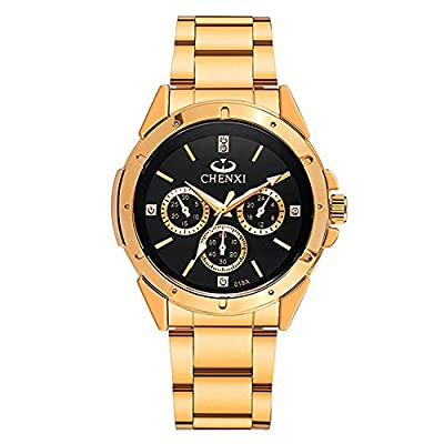 Fq-304 Golden Stainless Steel Men's Luxury Wrist Watches for Man Black Face by DREAMING Q&P