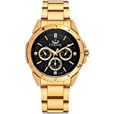 Gold Men's Luxury Wrist Watches for Man,Black Face Stainless Steel Classic Business Golden Series Watch Father's Day Gift