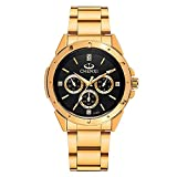 Fq-304 Golden Stainless Steel Men's Luxury Wrist Watches for Man Black Face
