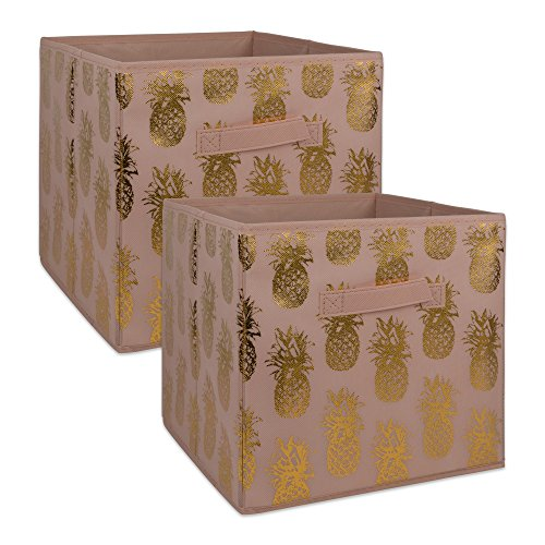DII Non-Woven Fabric Storage Bins with Removable Bottom, Small-11 x 11 x 11, Pineapple-Pink/Gold, 2 Piece