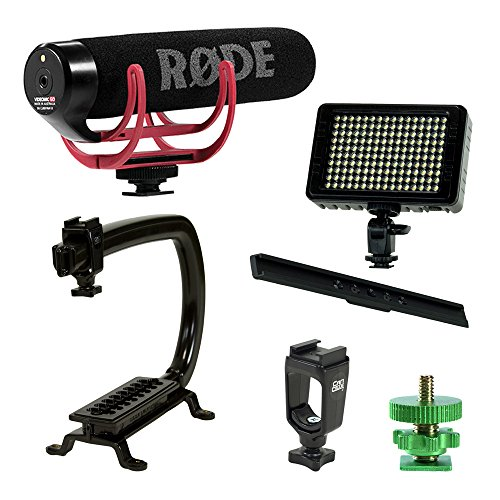 Professional Stabilizing Camera Grip Handle + Rode VideoMic Go On-Camera Microphone + Dimmable LED Panel Light for Canon Nikon Panasonic Sony DSLR Mirrorless Camera (External Mic Rode)