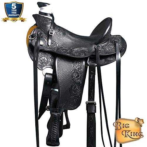 15″ Western Horse Saddle Leather Wade Ranch Roping Black Hilason