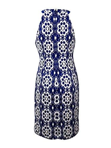 Nine West Womens Beaded Halter Lace Sheath Dress Riviera Combo