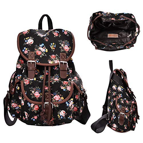 Printed Canvas Bags - MoreChic Canvas Backpack Floral Printed Backpack School Bag for Teen Girls(Black)