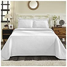 Superior 100% Cotton Basket Weave Bedspread with Shams, All-Season Premium Cotton Matelassé Jacquard Bedding, Quilted-Look Geometric Basket Pattern - Full, White